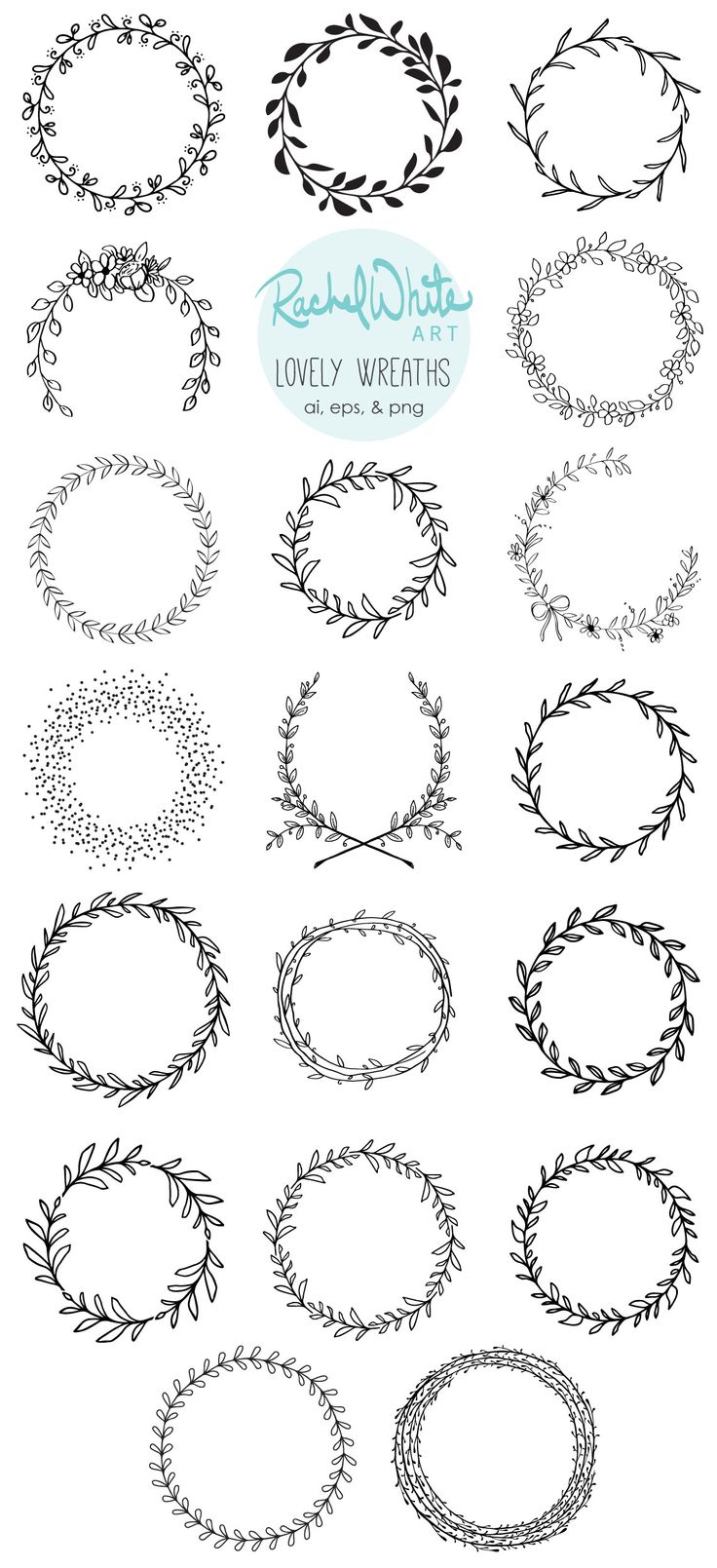 Lovely Wreaths Vector Illustrations – AI EPS and PNG – 19 unique images – Instant Download