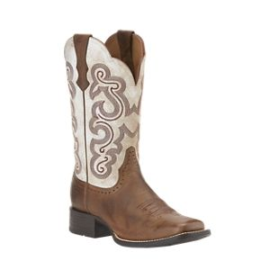 Ariat Quickdraw Western Boots for Ladies - Distressed White - 7.5 Medium B
