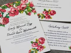 """Wedding of Eden""  simple, yet elegant floral wedding invitation and can be printed on a selected range of cards and modified to suit your color theme or individual events. Located in Melbourne"
