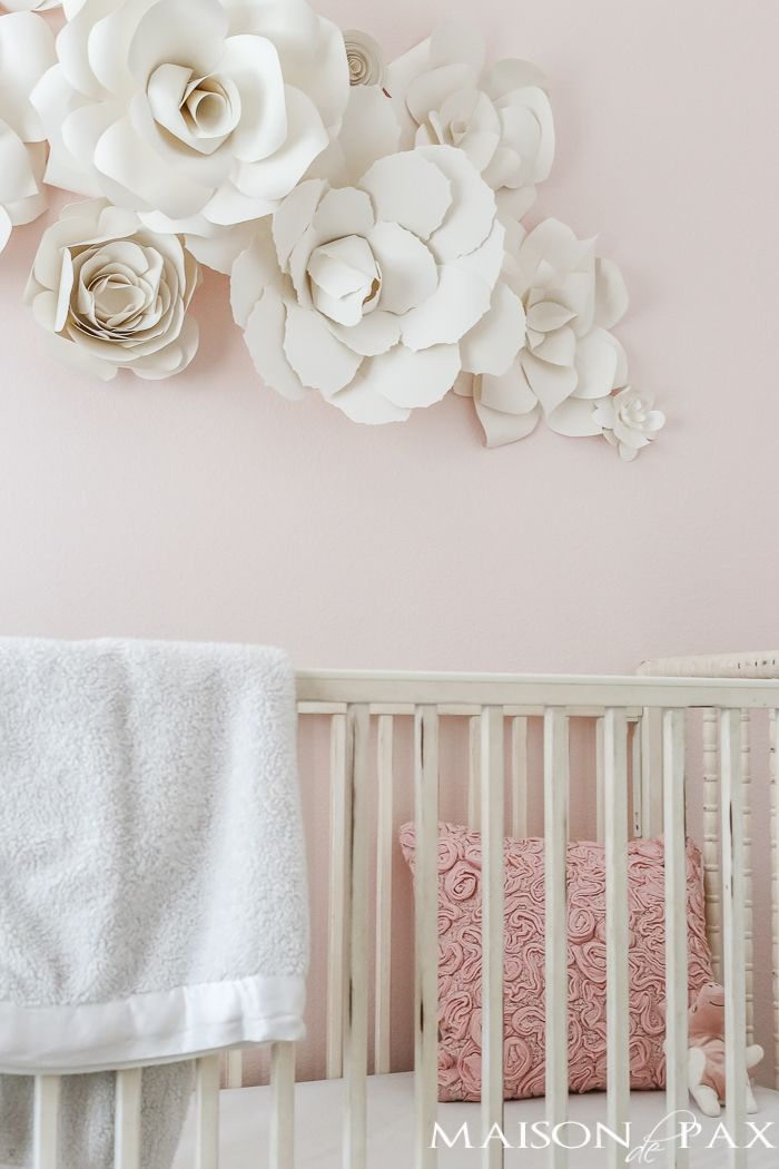 Paper Flower Wall Art in the Nursery Baby girl nursery