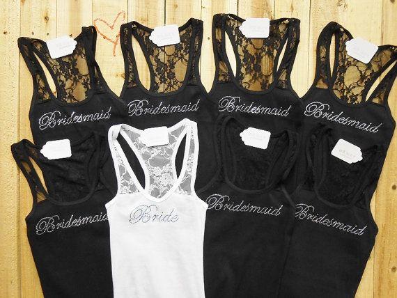 8 Bridesmaid Tank Top. Bridesmaid, Bride, Maid of Honor, Sexy Little Bride, The Little Mrs, Disney Bride, Wifey. Wedding Tank Top Shirt. on Etsy, $111.00