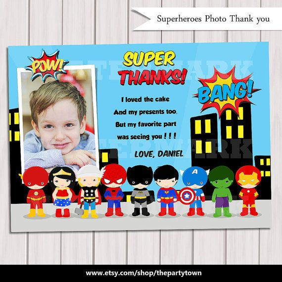 Pop Art SuperHero Thank you Card with photo / Note by ThePartyTown, $5.00