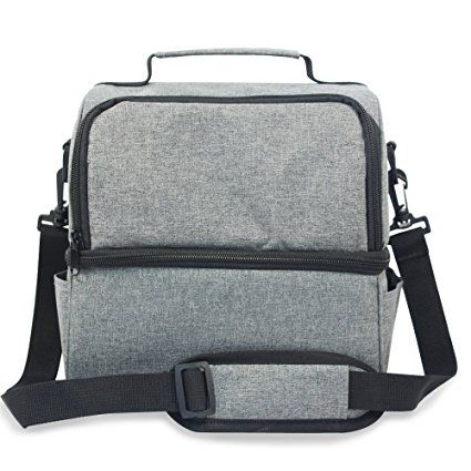 MangGou Insulated Lunch Bag,Reusable Adult Lunch Box,Large Cooler Lunch Tote Bags with Pockets,Double Deck Cooler For Work,Travel,Men,Women With Adjustable Shoulder Strap,Grey