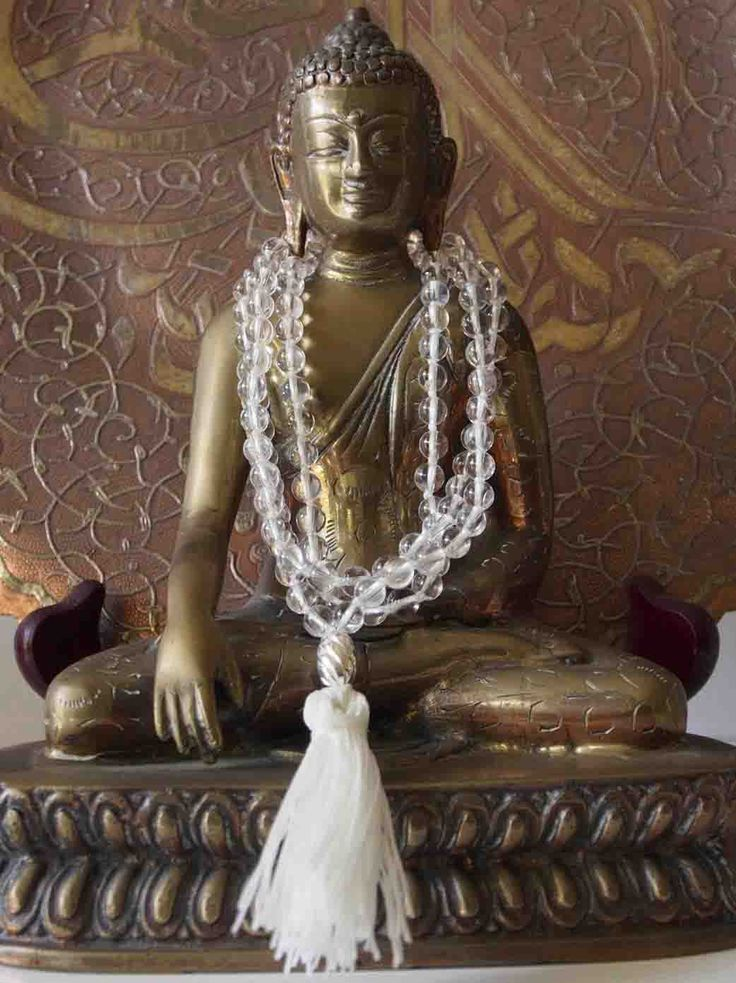 SAlly McBride Design CLEAR QUARTZ Mala comprised of 108 beads 6mm diameter round with a sterling silv