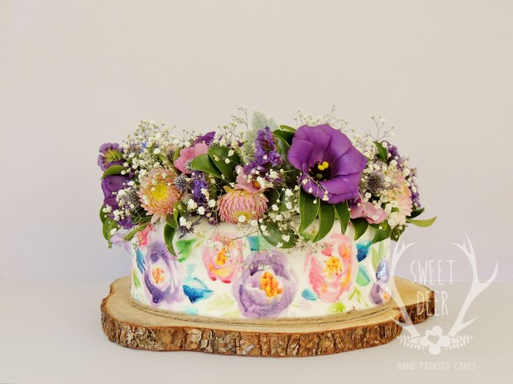 CAKE & CROWN  Garden flower crown and watercolour painting Sweet deer cakes