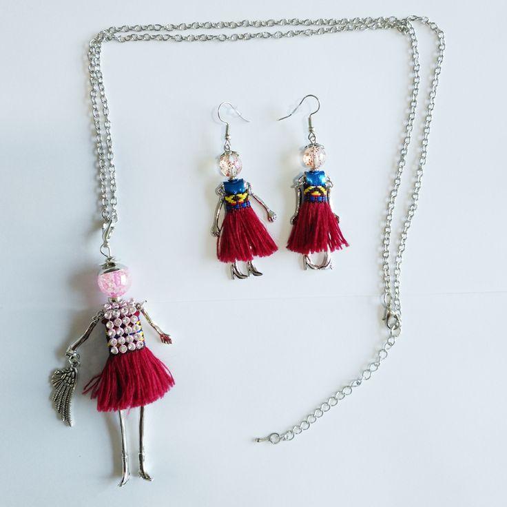 YLWHJJ novas mulheres borlas vermelhas boneca bonito strass pingente de Cadeia longa colar de moda maxi colar e brinco conjuntos de jóias em Conjuntos de jóias de Jóias & Acessórios no AliExpress.com | Alibaba Group