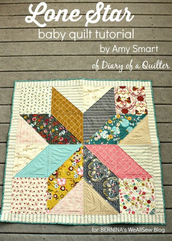 """Lone Star Baby Quilt ~ 39""""sq finished size, free tutorial 