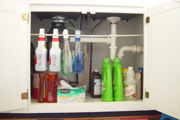 Tension Rod For Spray Bottles | Under-Sink Organizer Ideas