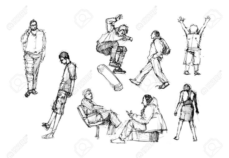 Human Figure Drawing In Different Activities Stock Photo, Picture And Royalty Free Image. Image 23046226.