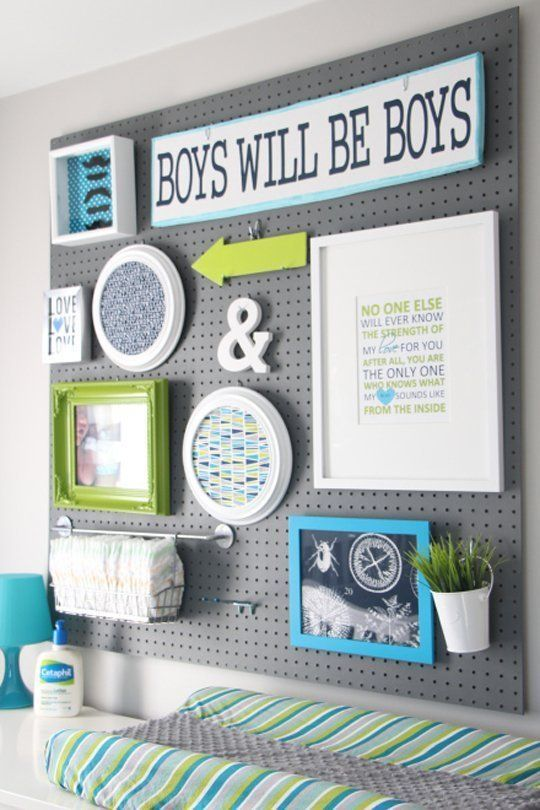 pegboard organization -- a gallery wall with function that is easy to customize.
