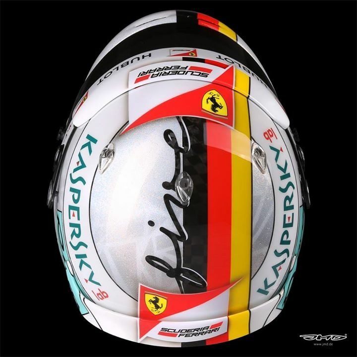"""Sebastian Vettel's 2017 Hungarian GP """"Weißglitzer"""" helmet.JMD Design"""