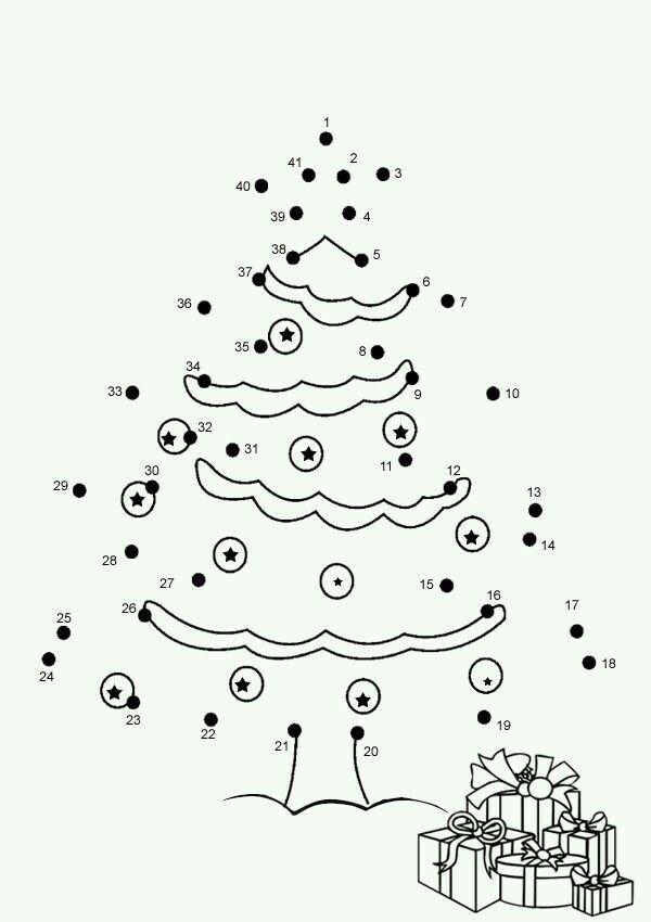 Cijferkleurplaat kerstboom.
