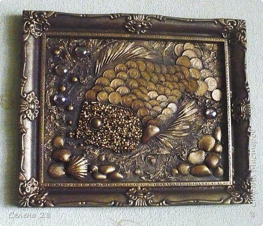 Декор предметов Картина панно рисунок Аппликация Волшебная коллекция  Бумага Монета Пуговицы фото 3