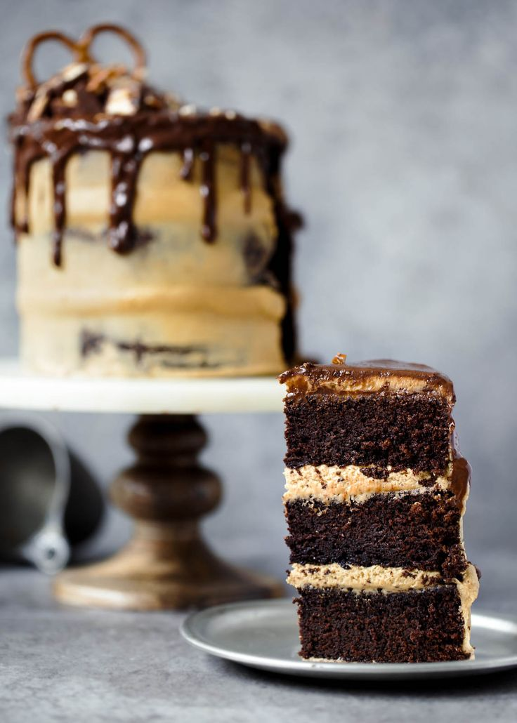 A boozy Chocolate Stout Cake topped with creamy peanut butter frosting and a chocolate ganache!