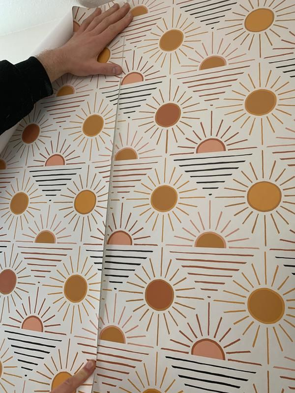 Geo Sun Removable Wallpaper Removable Wallpaper Stick On Wallpaper Wallpaper