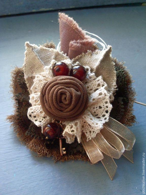 Купить Шоколадная Булочка. Брошь бохо из ткани - брошь бохо, брошь из ткани, текстильная брошь