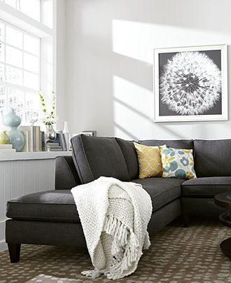 Alanis Fabric Sectional Living Room Furniture Sets & Pieces - furniture - Macy's  Dark gray furniture in living room???