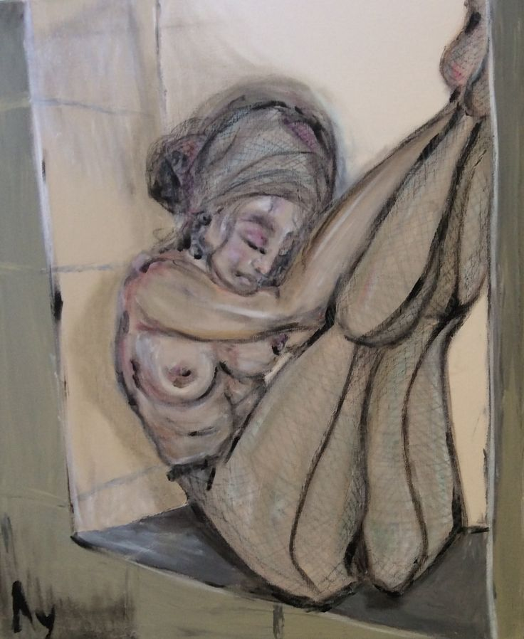 """Kerchief and stockings"" by Looiza Potapova: (acryl & oil paint & oil ) finger-painting technique 60 sm * 70 sm"