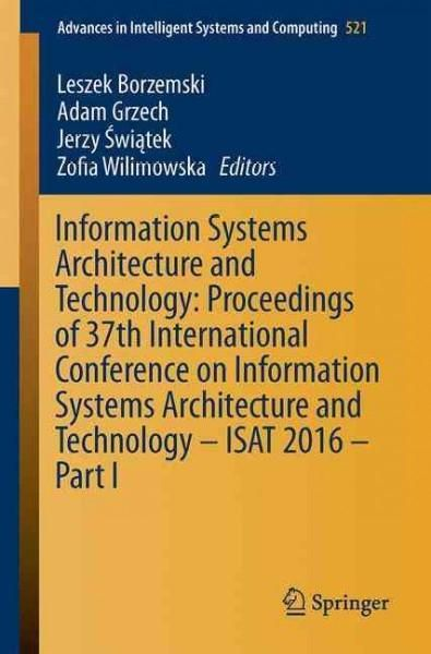 Information Systems Architecture and Technology: Proceedings of 37th International Conference