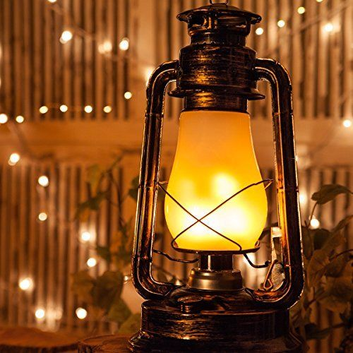 Antiqued Copper Realistic Electric 15 5 Quot Flickering Led Hanging Metal Lantern Christmas Lanterns Vintage Lantern Led Lantern Oil Lantern Metal Lanterns