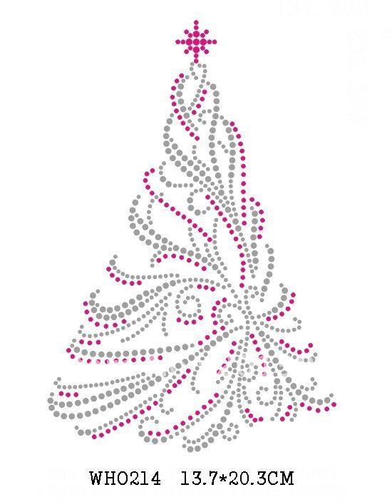 beautiful Christmas tree rhinestone transfers 30 pieces/lot