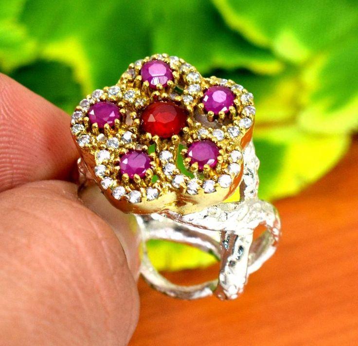 "Ruby Gemstone Turkish Victorian Vintage 925 Silver Plated Ring Size US 8"" R298 #krishnagemsnjewels #Solitaire"
