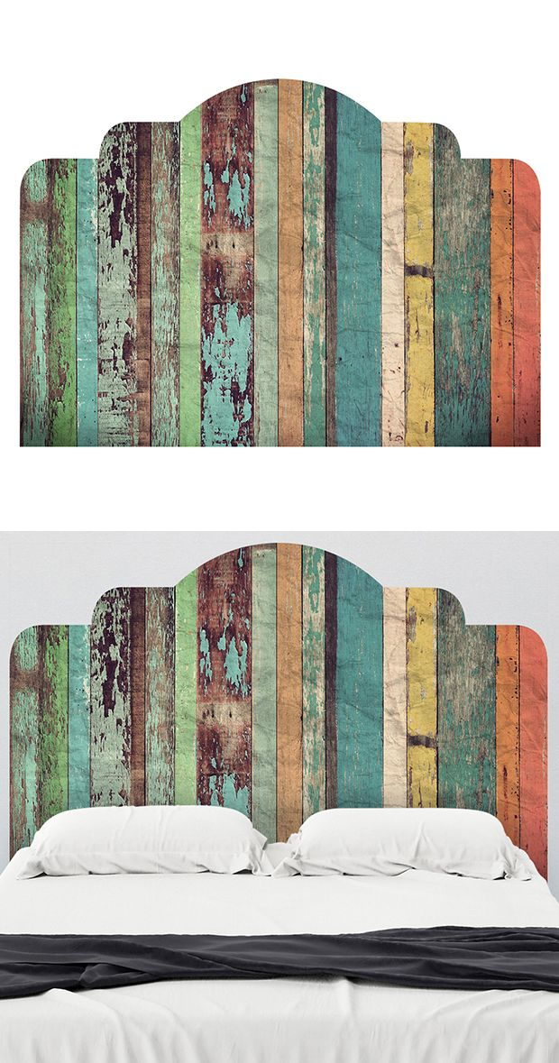 Add a touch of country-style character to your beloved bedroom with this gorgeous multi-colored design. Inspired by reclaimed wood pieces, this Farmyard Adhesive Headboard features a distressed faux wo... Find the Farmyard Adhesive Headboard, as seen in the Decals Collection at http://dotandbo.com/category/decor-and-pillows/for-the-wall/decals?utm_source=pinterest&utm_medium=organic&db_sku=120604