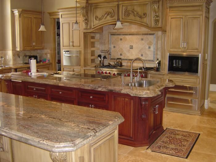 Kitchen crema bordeaux home pinterest granite for Cherry bordeaux kitchen cabinets