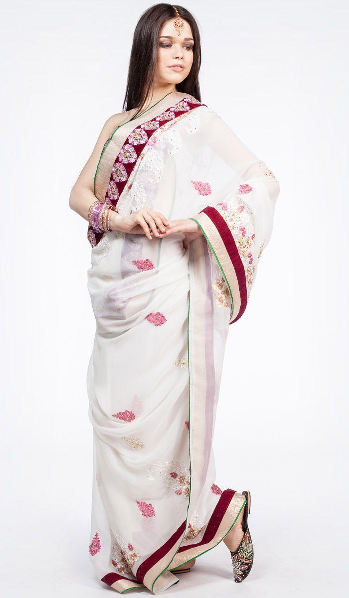 Индийское сари, белое сари из Индии, Indian sari, saree, white sari from India. 15 300 рублей