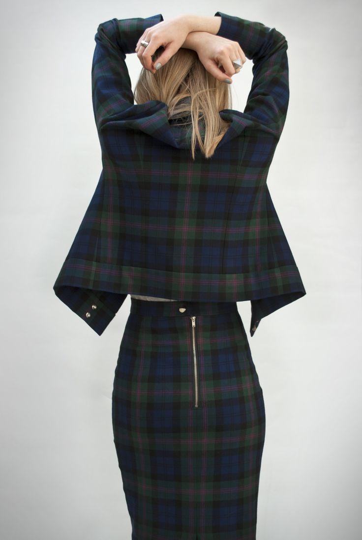 Tartan pencil skirt and biker jacket.