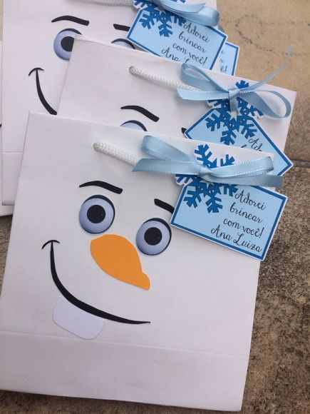 Olaf favor bags for a Frozen birthday party