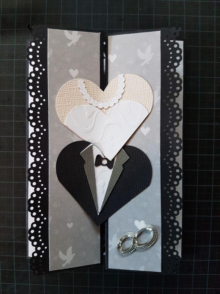 Bryllupskort 2017 - etter ide fra Pinterest, hjertene er laget etter et design fra Silhouettestore