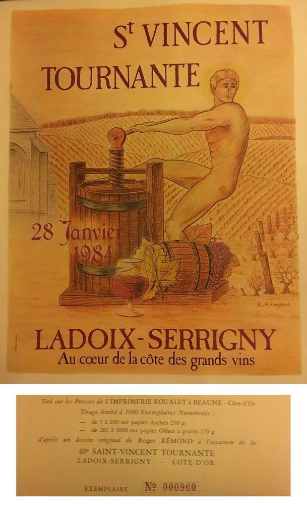 AFFICHE ORIGINALE ANCIENNE 40e ST VINCENT TOURNANTE 1984 LADOIX SERRIGNY