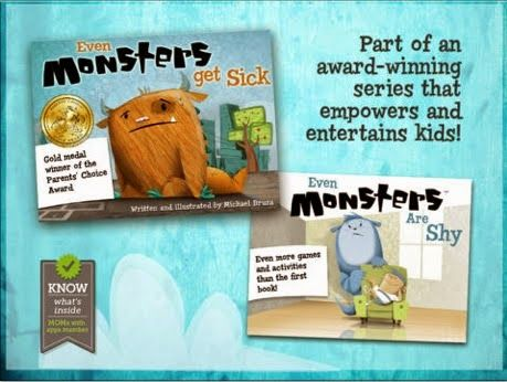 Featured Apps and Giveaway for Even Monsters Get Sick and Even Monsters Are Shy
