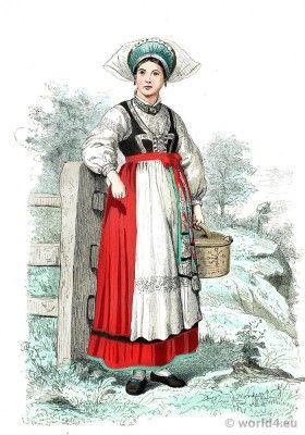 Girl in traditional folk dress from Blekinge, Sweden 1860.