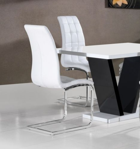 White Faux Leather & Chrome Buttoned Floating Dining Chair