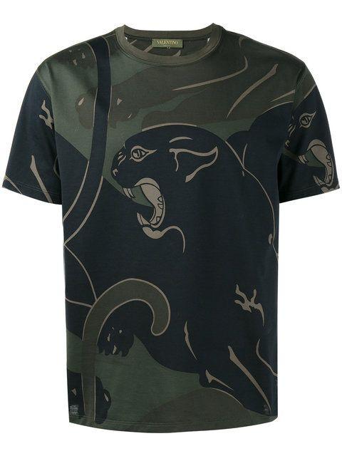 Shop Valentino Rockstud panther print T-shirt.