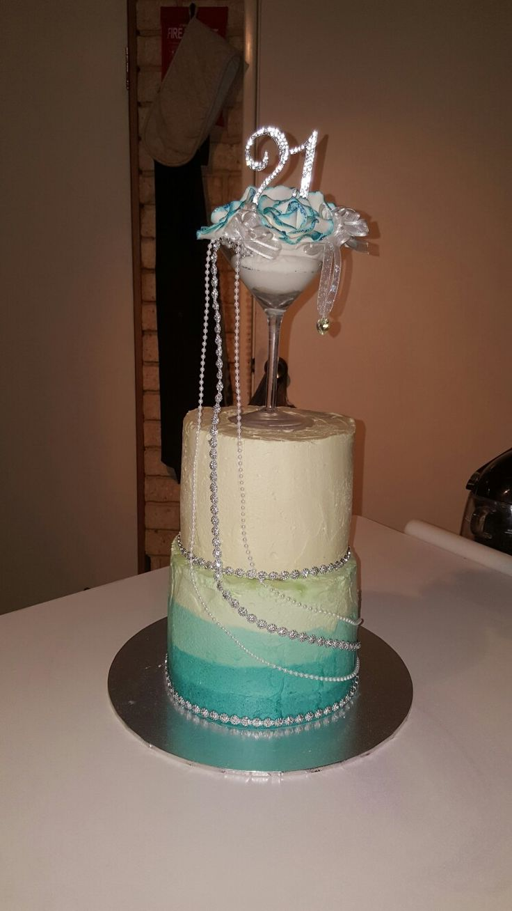 Ombre 21st birthday cake with cocktail glass