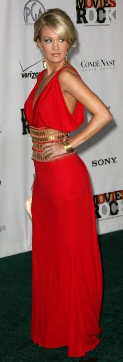 Red and Gold evening gown is great for a formal affair.