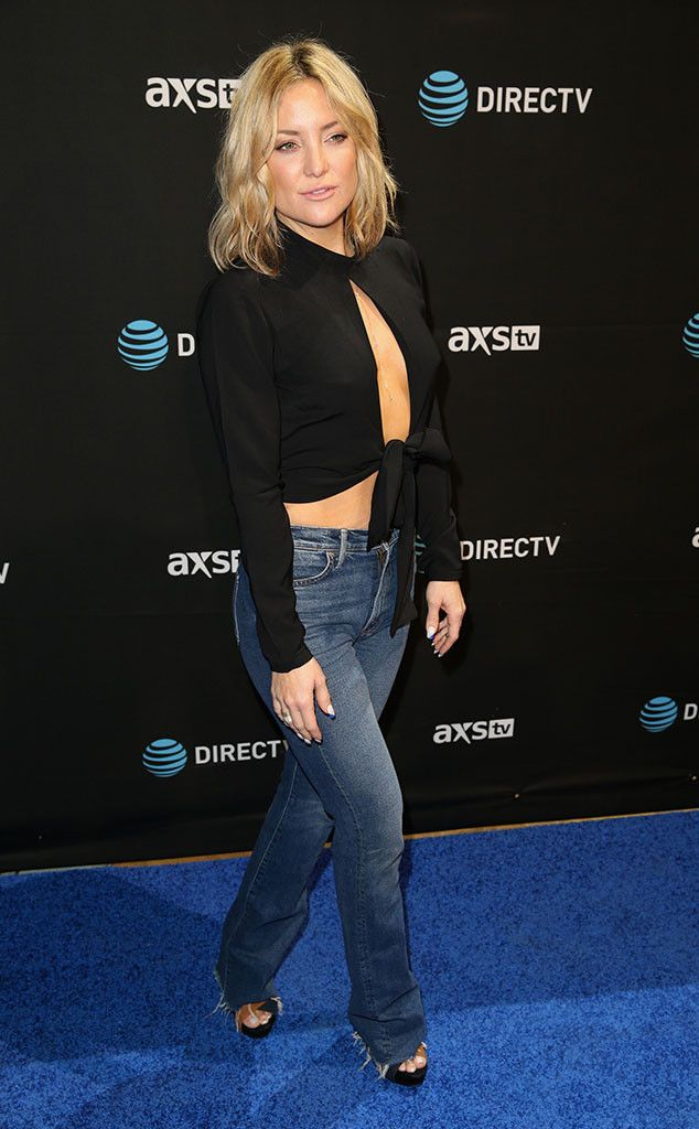 Kate Hudson from Celebs at Super Bowl 2016  The actress shows some skin atDirecTV's Super Saturday Night, co-hosted by Mark Cuban's AXS TV, at Pier 70 in San Francisco.