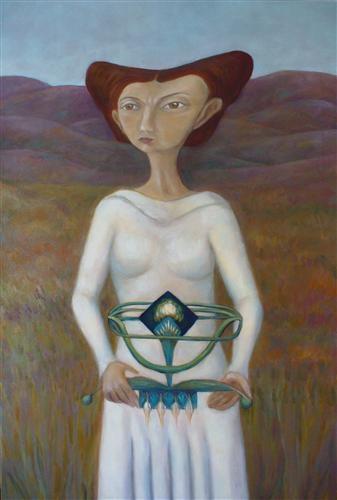 "Artefacto 1:Cristina Lopez Casas  Artefacto 1, 2011  http://www.ugallery.com/oil-painting-artefacto-1#     oil painting on unstretched canvas  35.5"" h x 24"" w   1 lbs. 0 oz."