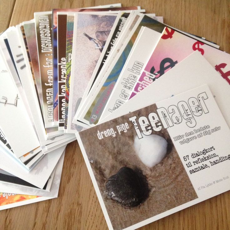 Dialogkort til teenagere, deres lærere og forældre.