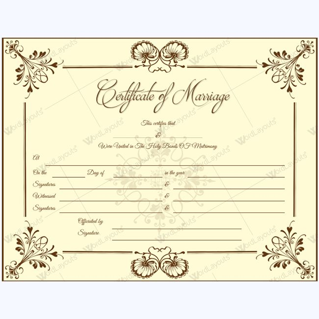 This marriage certificate template is easily printable and editable. You can easily fill the blanks and type the names by opening this marriage certificate in Microsoft® Word. Moreover, you can also create additional fields to add more names and signatures or you can remove the extra lines which you may not need in certificate.