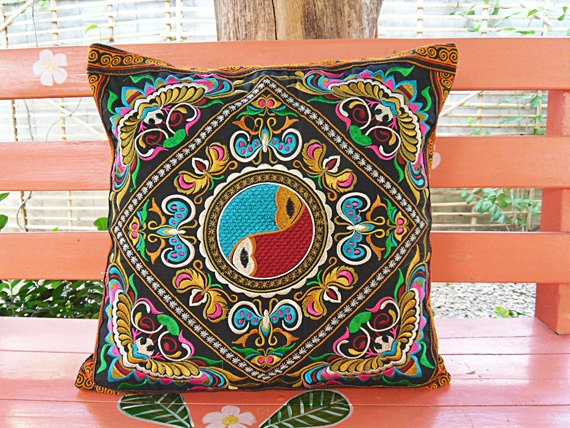 Hmong embroidered pillow