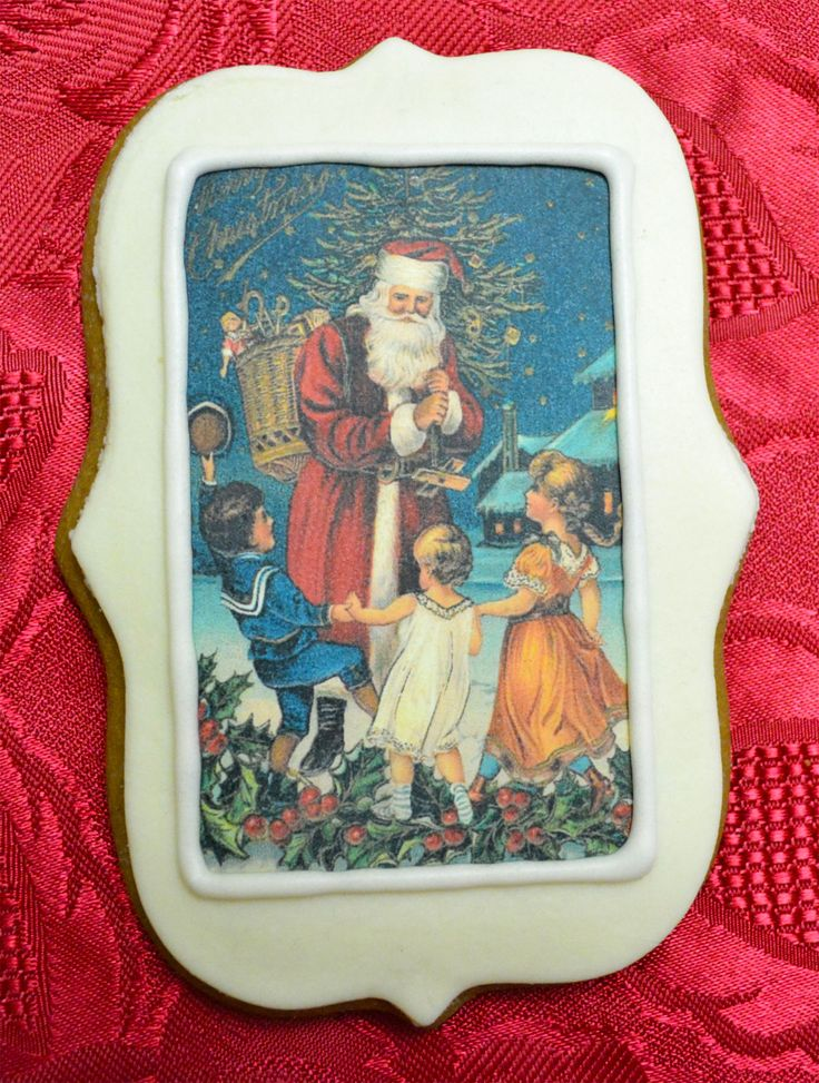 Vintage Christmas Edible Ink printed on frosting sheet on a layer of home-made fondant on gluten free gingerbread
