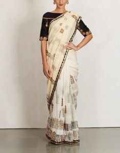 Hand Block Printed Sari with Embroidered Border-PETTICOAT STUDIO BY DEBYANI