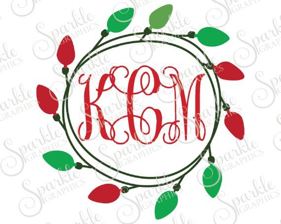Christmas Light Monogram Frame Christmas X Mas Christmas Svg Christmas Monogram Svg Dxf Eps Png Silhouette Cricut Cut File Commercial Use Products Monogram