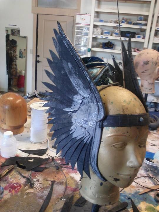in process photo of winged headpiece from organic armour https://www.facebook.com/photo.php?fbid=10151732650213108&set=a.113326968107.98873.59893003107&type=1&theater