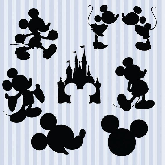 Mickey Mouse svg silhouette pack - Mickey clipart digital download svg, png, dxf, eps