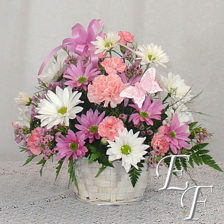 "Our Butterfly Basket features assorted daisies and pink carnations arranged in a 6"" white wicker basket."